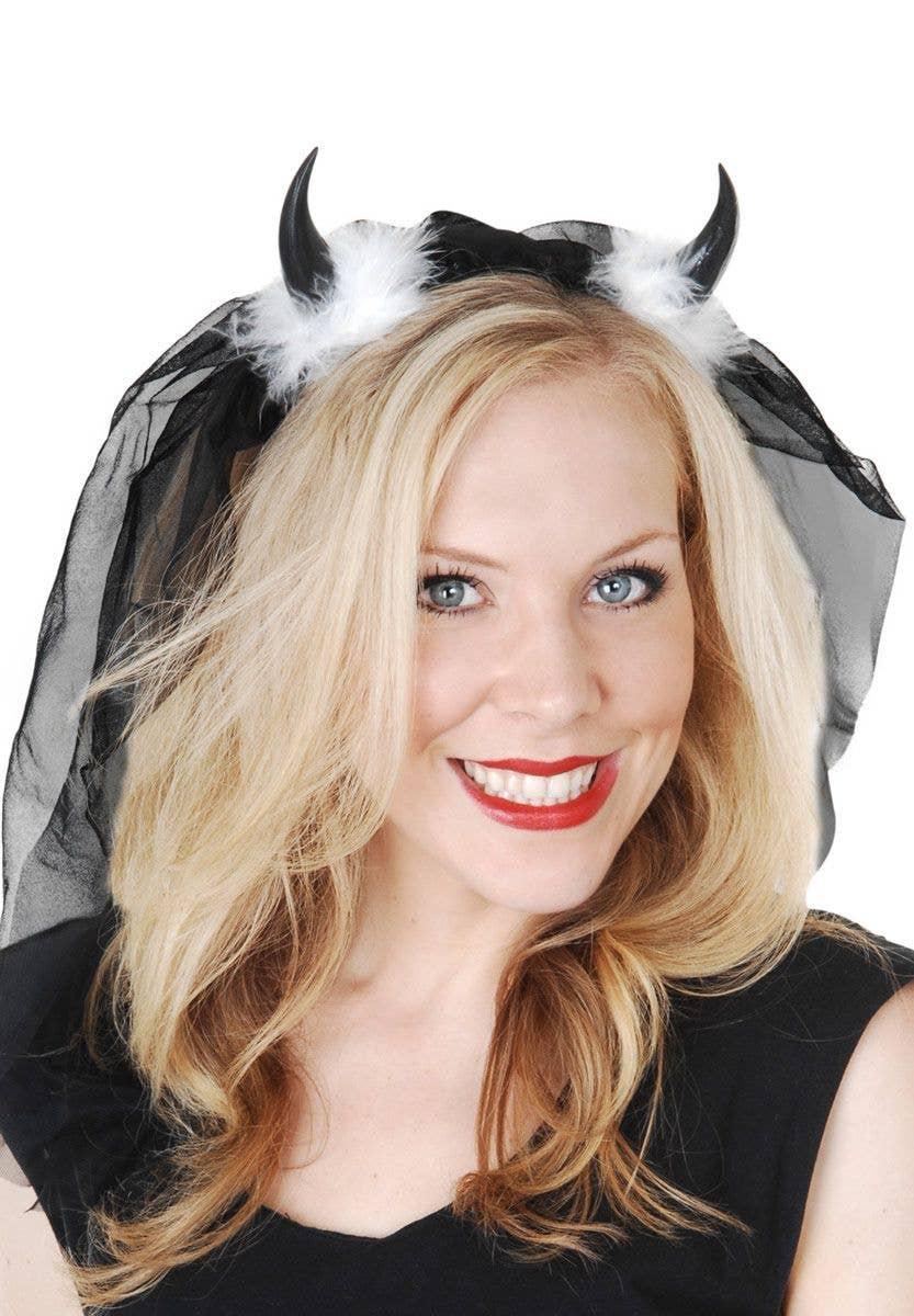 dca2b11c1d3 Dark Devil Horns with Black Veil Costume Accessory