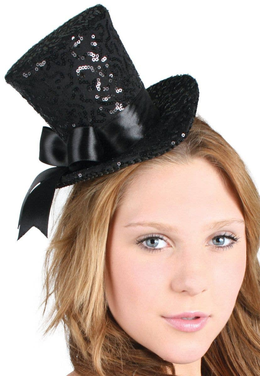 97752e95dd5 Burlesque Black Sequined Mini Top Hat With Bow