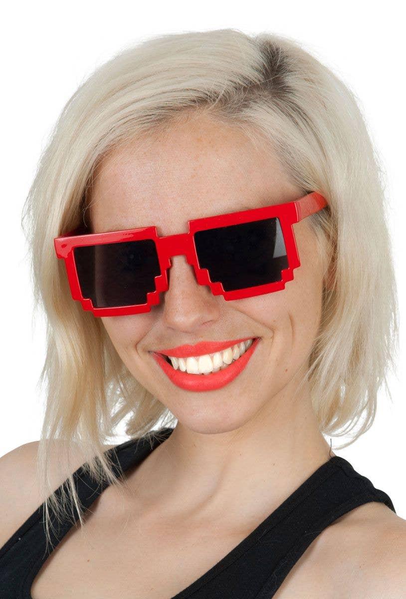 465310e5a4b9 Geek Gamer Retro Pixel Red Sunglasses Costume Accessory