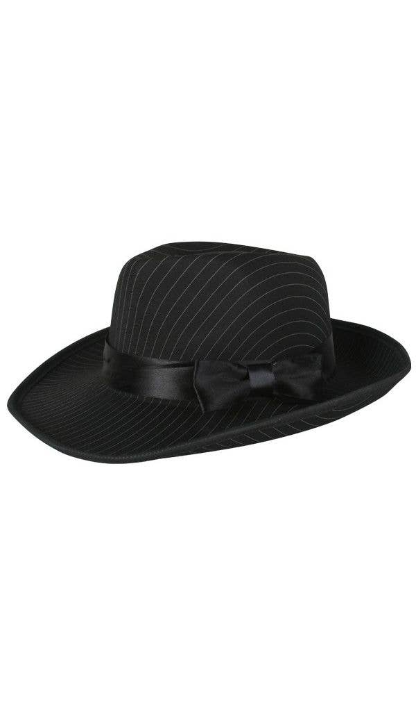 a091f7063 1920's Men's Black Gangster Fedora Hat with Pinstripes