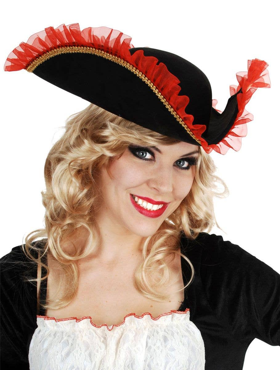 Red and Black Ruffle Trim Women s Tricorn Pirate Hat Main Image d76a21f86764