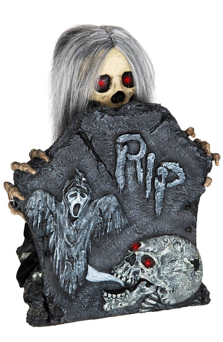 animated gravestone halloween decoration | moving tombstone prop