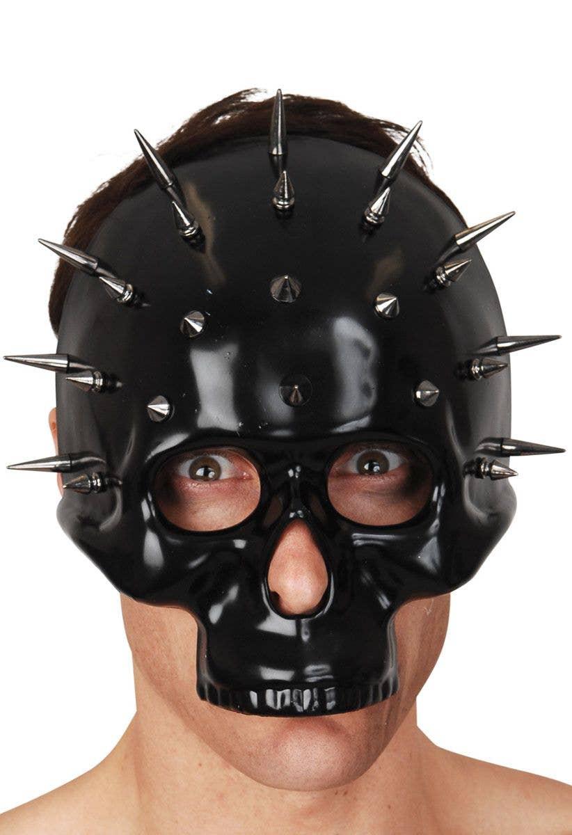 Black Skull Mask With Silver Spikes Black Skeleton