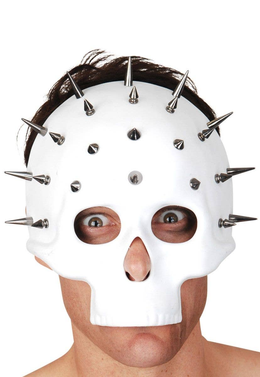 white skull mask with silver spikes | white skeleton halloween mask