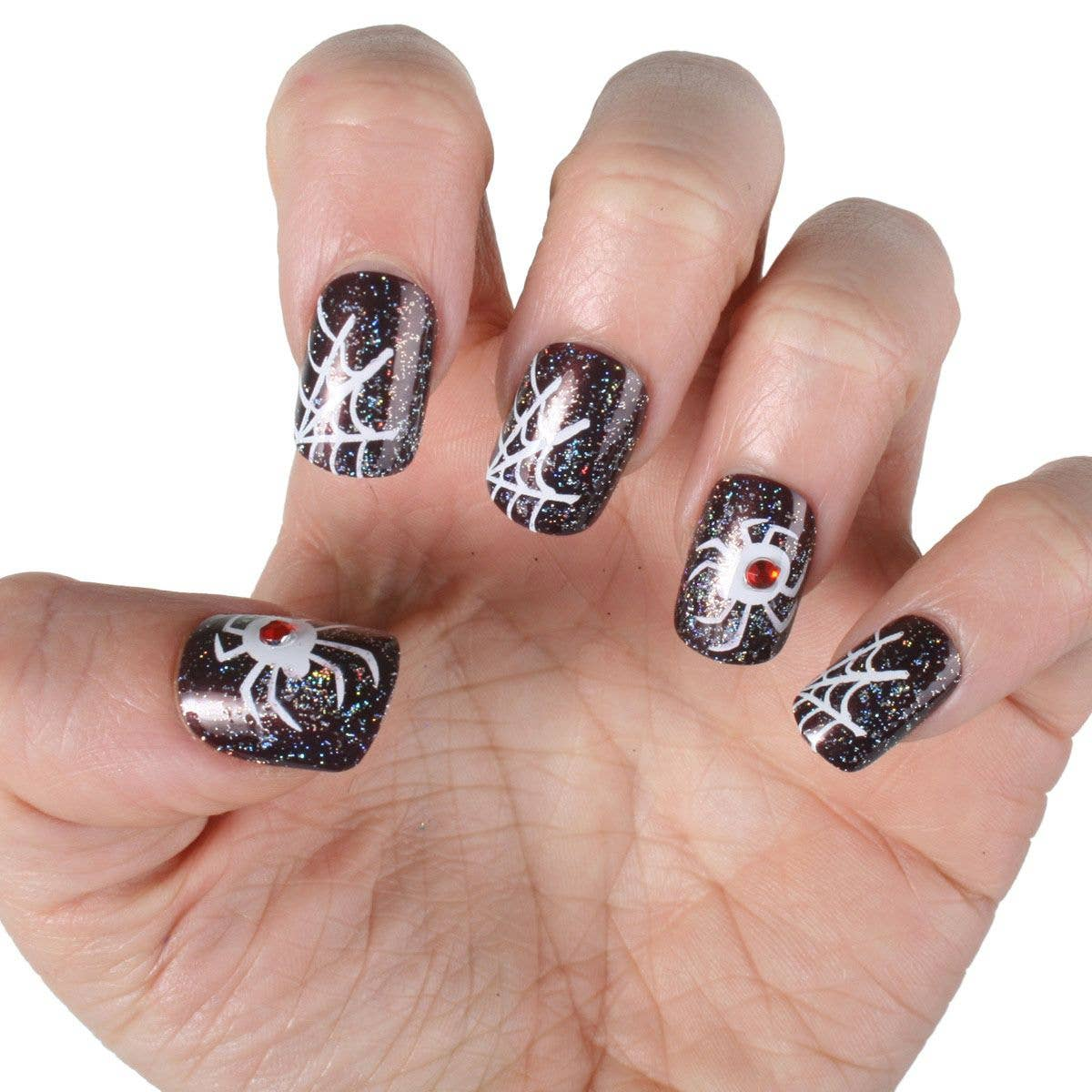 Spider Web Press On Finger Nails | Halloween Fake Witch Nails