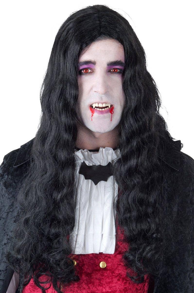 men's long black vampire wig | men's vampire halloween costume wig