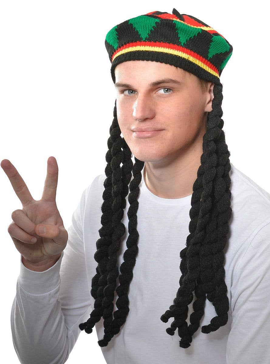 3a372da9a Knitted Rasta Hat With Black Dreadlocks Costume Accessory