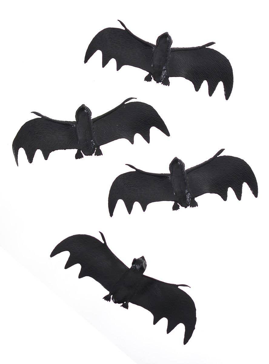 Mini Black Halloween Bat Decorations 4 Pack Mini Black Soft