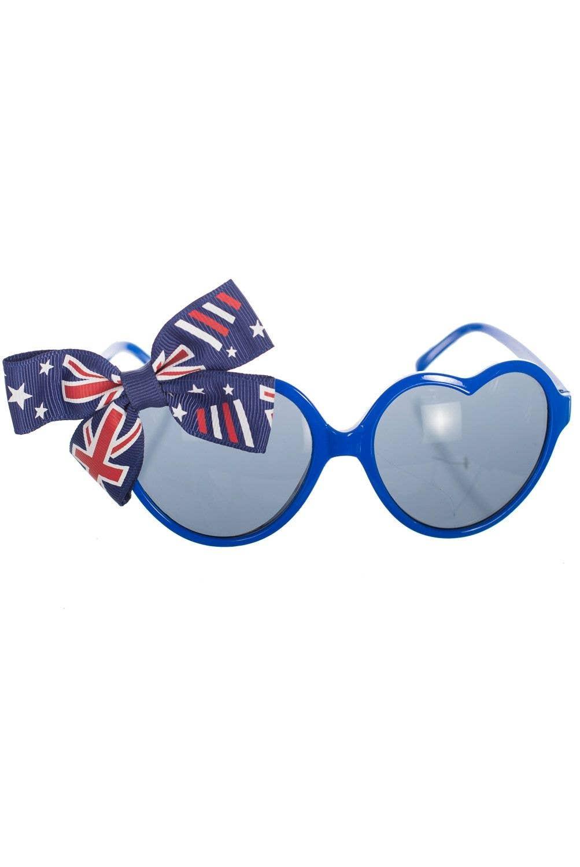 b11fec0c999 Heart Shaped Australia Day Blue Glasses | Love Heart Glasses With Bow