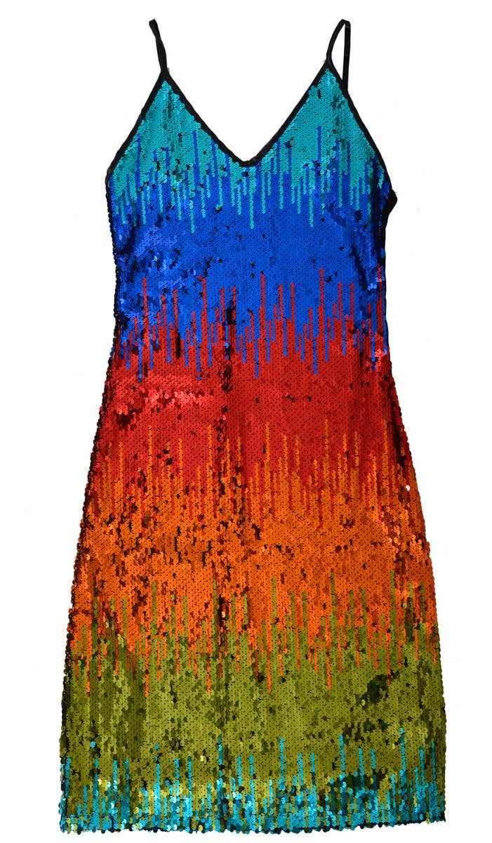 Sequined Mardi Gras Sexy Dress Womens Multi Coloured Dress