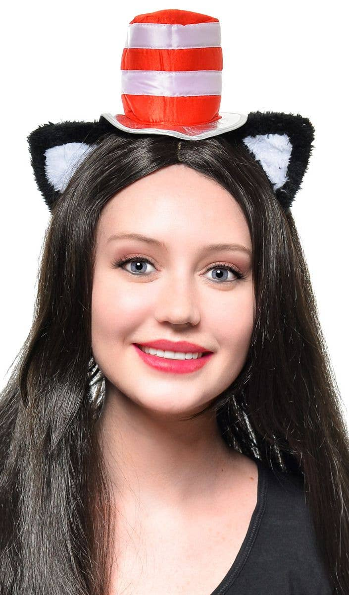 ccd4fa30 Red and White mini Cat in the Hat hat with Cat Ears Headband Book Week  costume