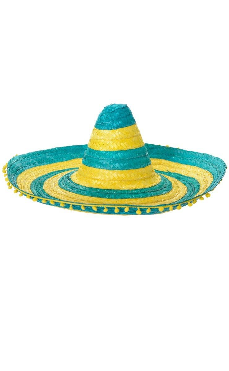 f7a86e755de24 Australia Day Large Adult s Green And Yellow Striped Mexican Sombrero  Costume Hat With Pom Pom Trim
