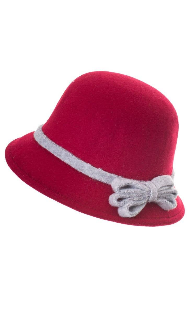 Maroon Red Felt 1920 s Women s Cloche Bell Hat Costume Accessory Main Image 686cefb676cf