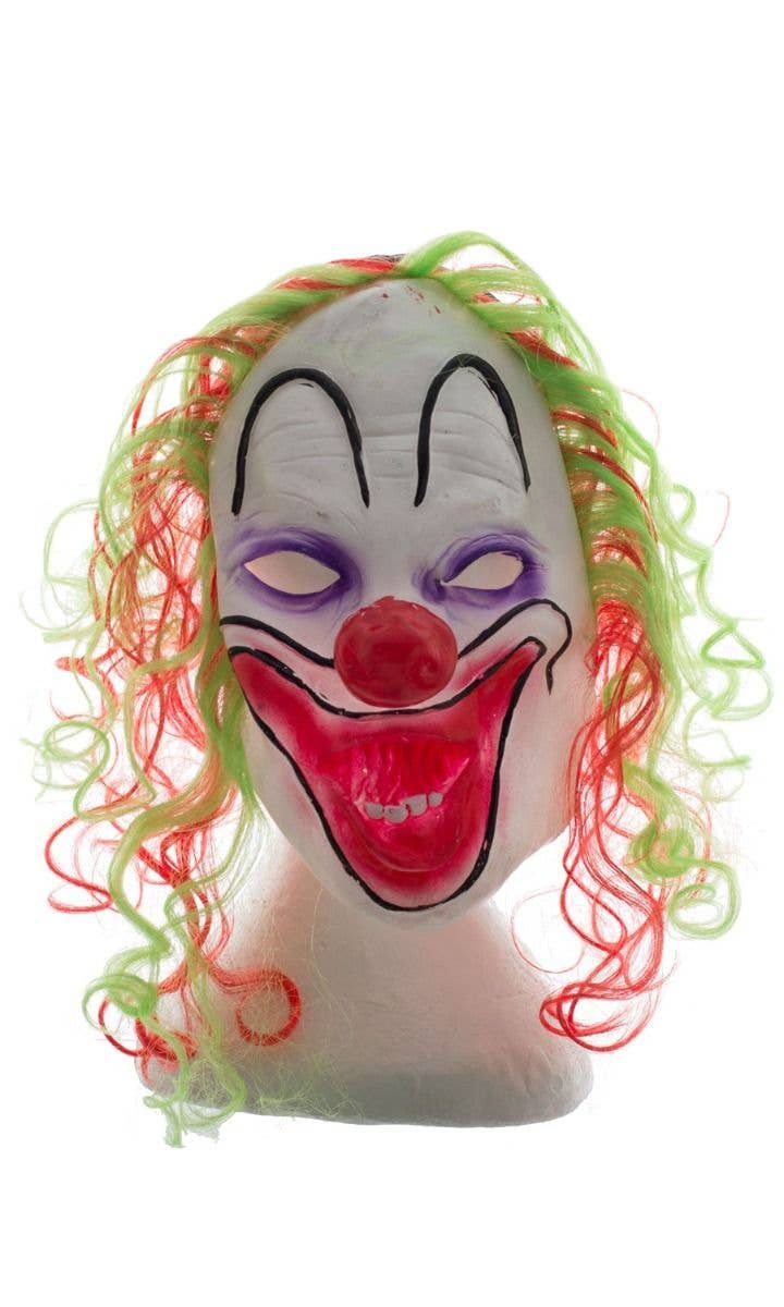 Evil Clown Mask With Coloured Hair Costume Accessory