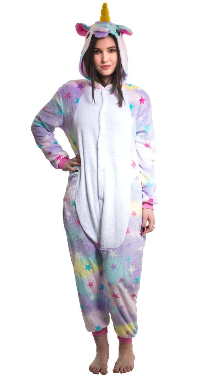 c6449d4bfd68 Girl s Enchanted Rainbow Star Unicorn Costume Onesie Jumpsuit Main Image