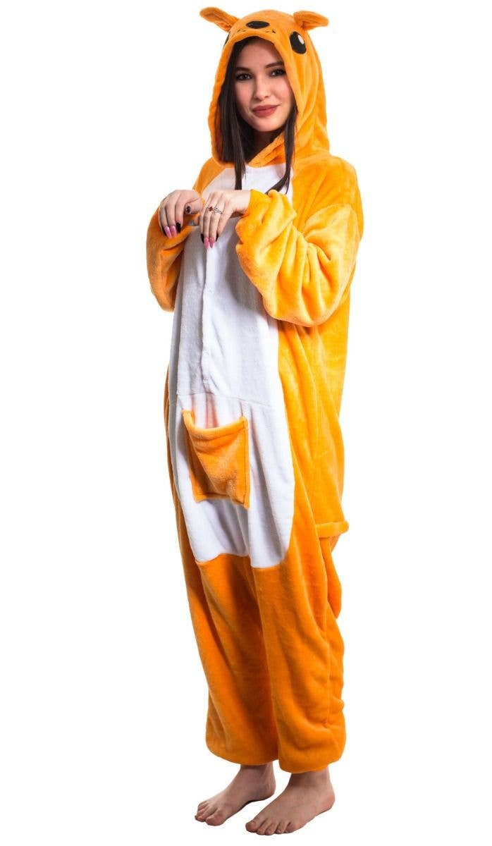 d64524b42760 Women s Australia Day Orange And White Plush Jumpsuit Onesie Costume Side  Image
