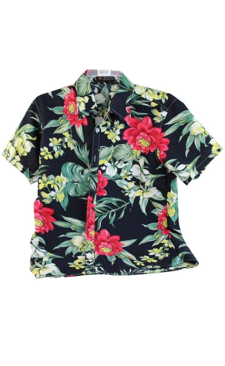 Mens Tropical Hawaiian Costume Shirt Black Red And Green Mens