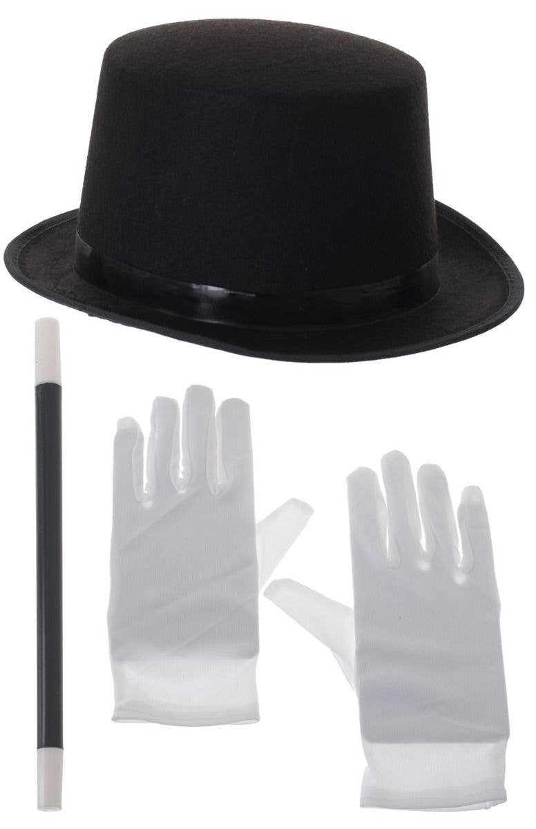 Stage Magician Top Hat Wand White Gloves Costume Accessory Kit Main Image 39d2748e4065