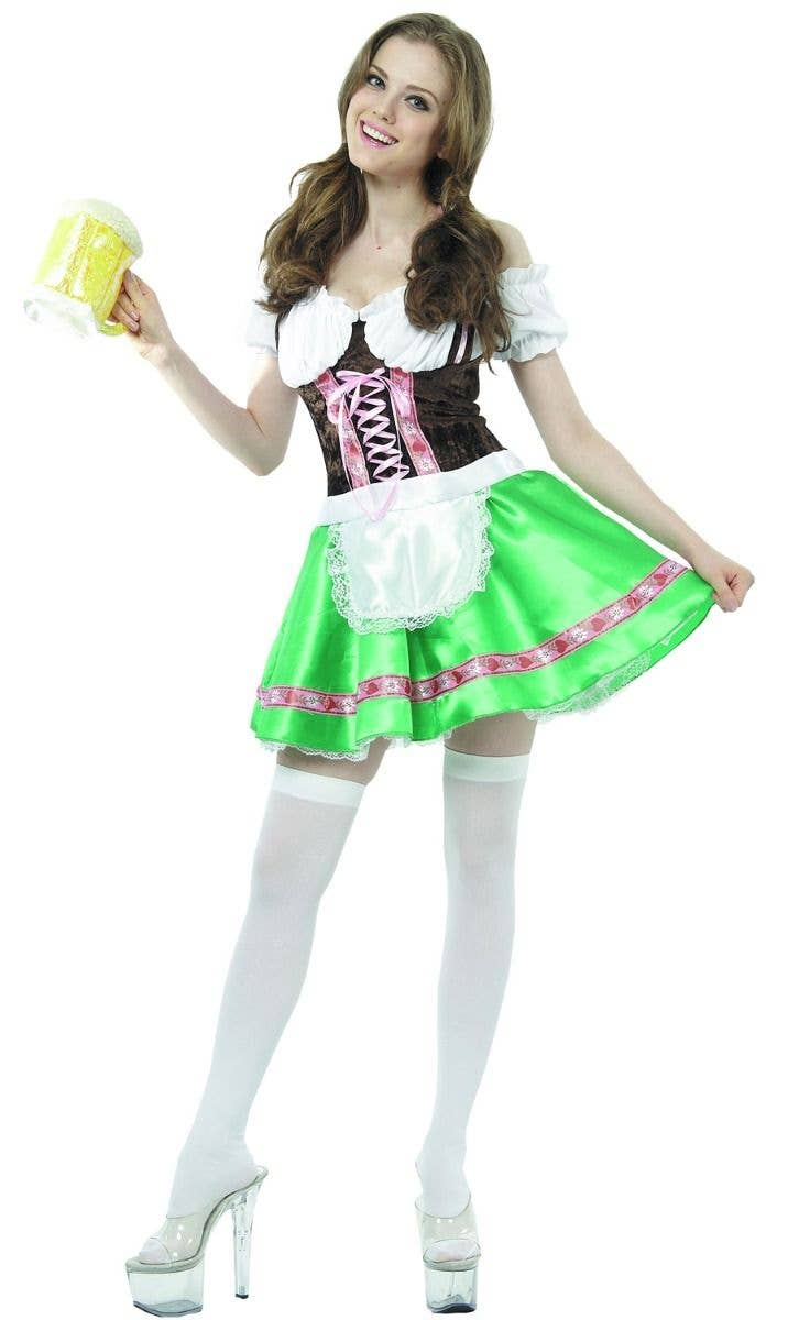 f81ad810ef Beer Girl Women s Green And Brown Oktoberfest German Fancy Dress Costume  Main Image