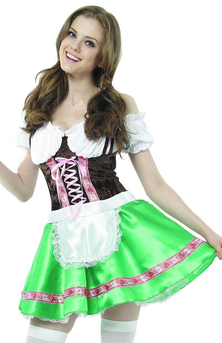a0abd868c8 Beer Girl Women s Green And Brown Oktoberfest German Fancy Dress Costume  Close Up Image