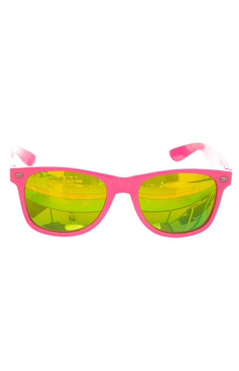 846ab0f07504 Neon Pink Retro 80 s With Green Mirrored Lenses Costume Accessory Main Image