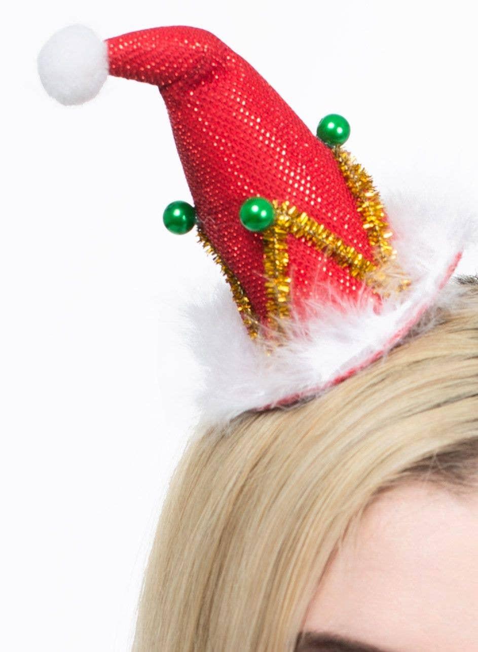 Novelty Mini Santa Hat Clip Mini Red Christmas Hat Hair Clip