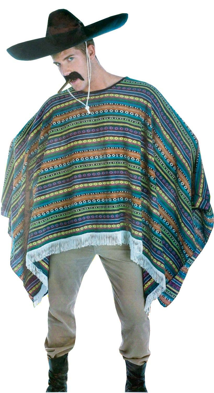 Men's Deluxe Stripey Mexican Poncho Costume | Adult Mexican
