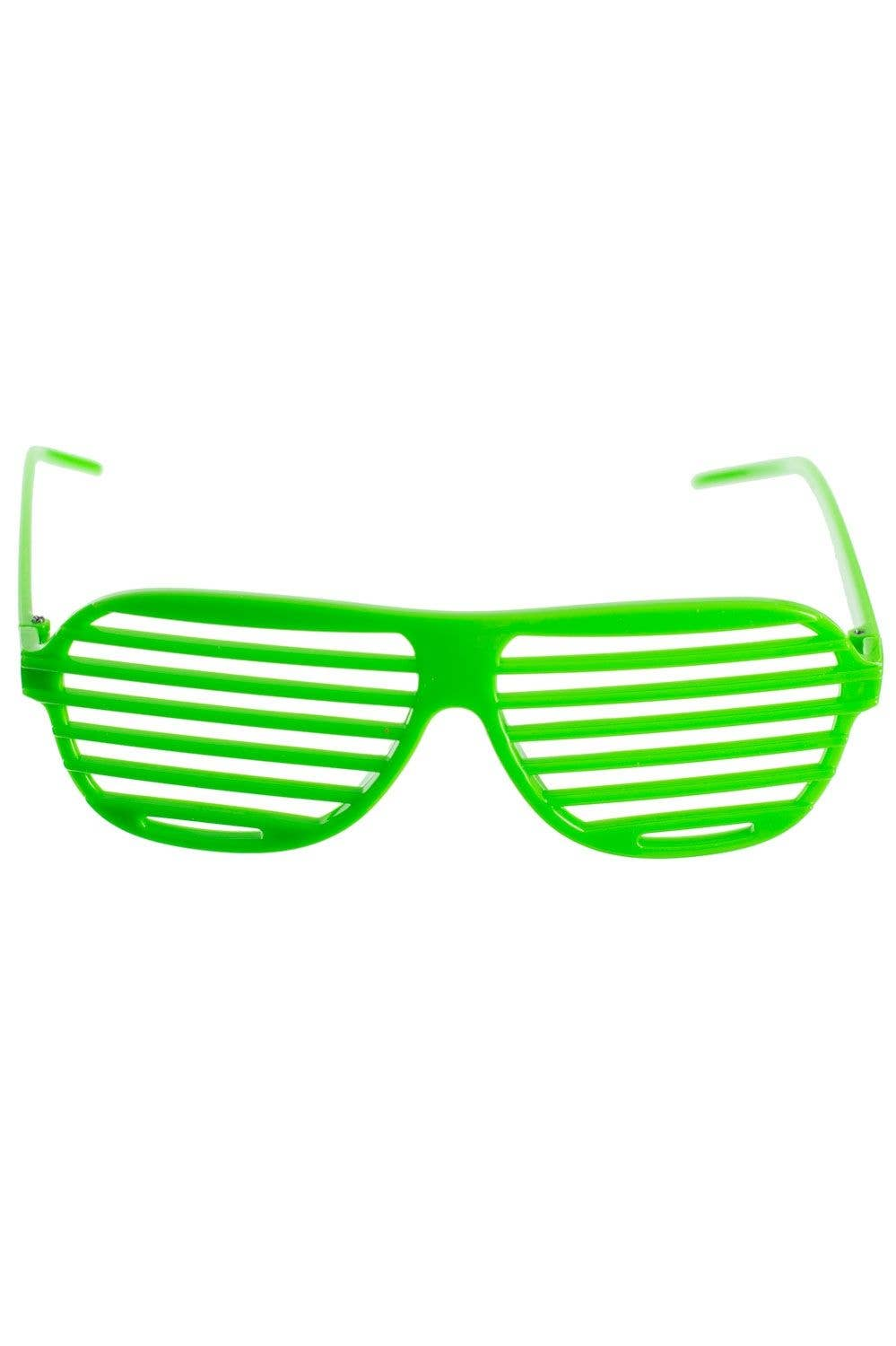685d1946856 Bright Green Shutter Shades Glasses Fancy Dress Accessory Main Image