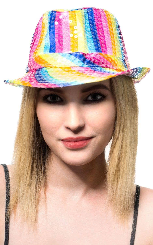 930374c74db0c6 Rainbow Fedora Hat | Colourful Satin Fedora Hat Costume Accessory
