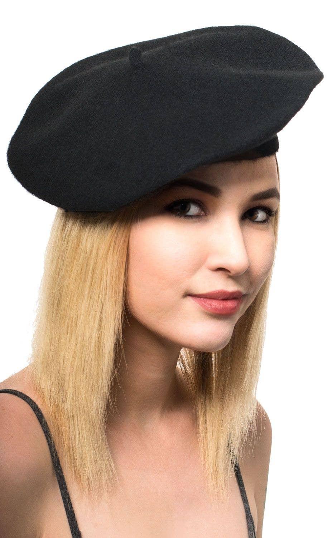 5dcde086ec1b9 Black French Beret Costume Hat Main Image