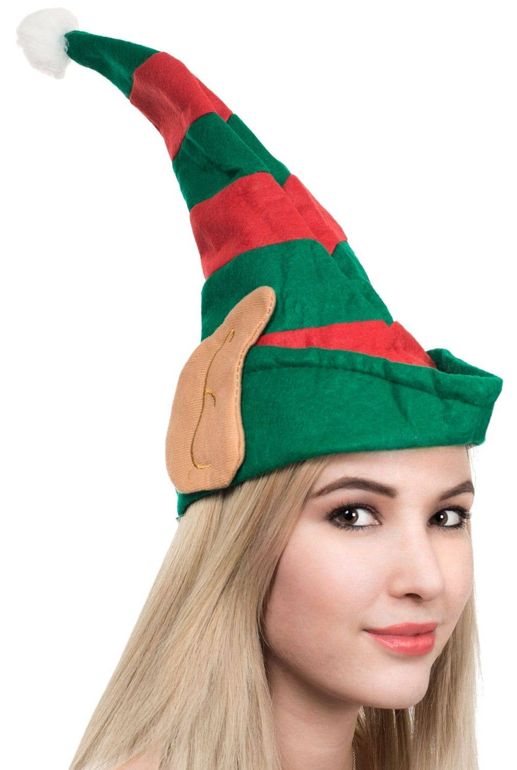 40de5ce09dd8e Striped Red and Green Elf Hat with Ears Main Image