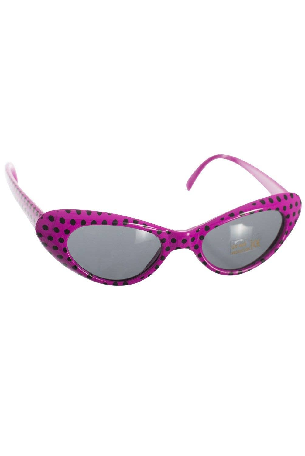 84e8ed4fff 1950 s Retro Dark Pink Pink And Black Polka Dot Costume Sunglasses