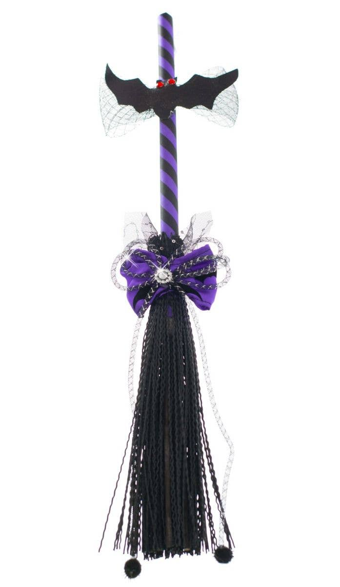 purple and black halloween haunted house mini witch broomstick main image
