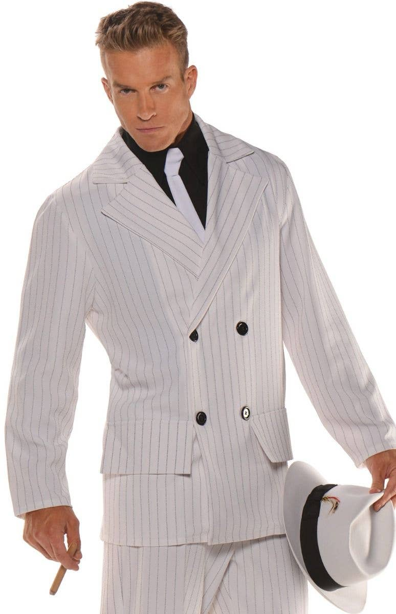 3530d6bd933 Men s Plus Size White Gangster 1920 s Smooth Criminal Pinstriped Fancy  Dress Costume Close Up Image