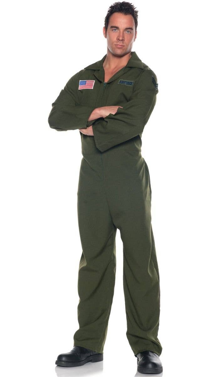 Menu0027s Khaki Green Aviator Fighter Pilot Top Gun Maverick Movie Themed Fancy  Dress Costume Jumpsuit Flight