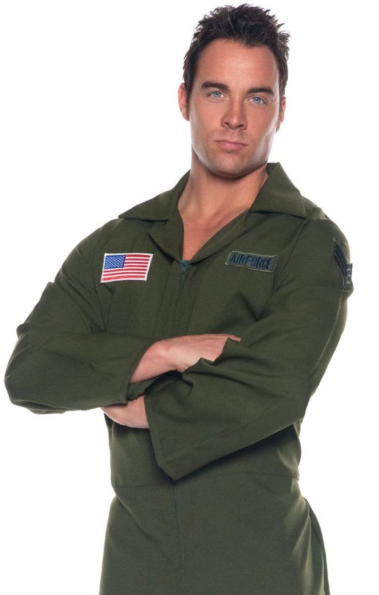 14a3f7ed70ac Men s Khaki Green Aviator Fighter Pilot Top Gun Maverick Movie Themed Fancy  Dress Costume Jumpsuit Flight