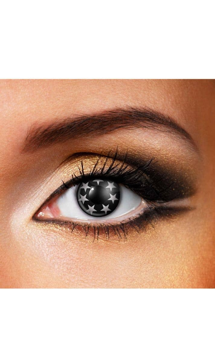 black and white sparkle star contacts 90 day war contact lenses
