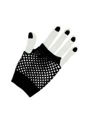 Black 1980's Fishnet Fingerless Costume Gloves