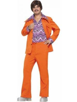 70's Retro Orange Leisure Suit Costume