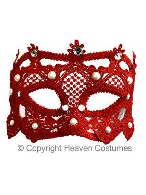 Red Lace Women's Deluxe Masquerade Mask