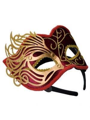 Fretwork Velvet Masquerade Mask in Red