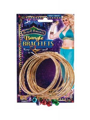 Gold Women's Bangles With Coloured Bells Image 1