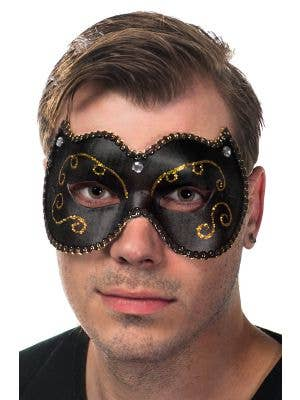 Unisex Black Vinyl Masquerade Mask Male View