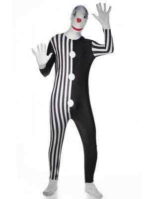Black And White Clown Budget Skin Suit Costume Front View