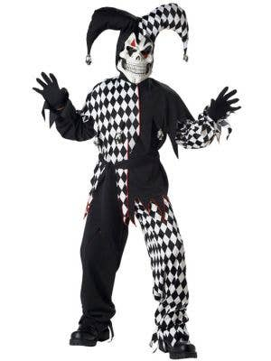 Boy's Evil Jester Black and White Halloween Costume Front