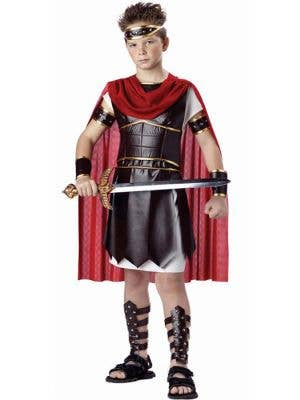Boy's Roman Gladiator Costume with Red Cape Front