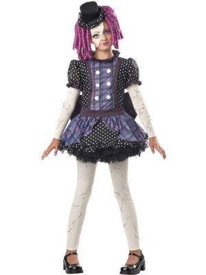 Girl's Broken Doll Costume Black and Purple Dress Front View