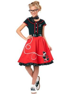 Girl's Retro Rockabilly Red Poodle Skirt Costume Front View