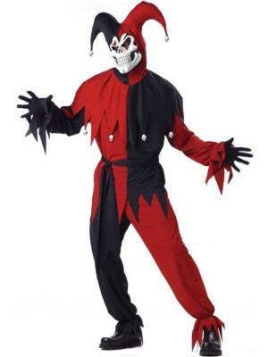 Men's Evil Jester Scary Halloween Dress Up Costume