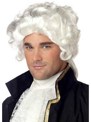 Colonial Men's White Costume Wig